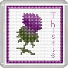 COASTER - Scottish Purple Thistle, Cross Stitch Kit 9.5cm x 9.5cm  - 14 Count