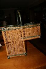 "Wicker Handwoven Stair Step Basket, 2 Compartments 15""X17.5""X8.5"" GREEN TRIM"