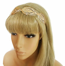 Beautiful Headband in a Filgree Leaf Design in Gold Tone Flexible Metal Prom