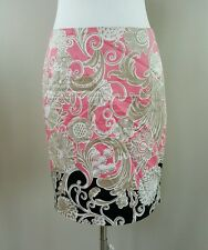 TAHARI Pink Beige & Black Floral Scroll Print Lined Pencil Straight Skirt Size 4