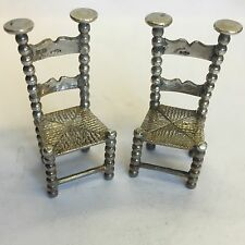 Pair Of Antique Solid Silver Miniature Chair Barley Twist & Wicker Style Zwolle