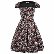 NEW VINTAGE 50'S STYLE ZOEY BLACK FLORAL ROCKABILLY SWING PARTY DRESS SIZE 24