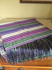 NEW BCBG MAXAZRIA 100% Silk Purple Green STRIPE SCARF SHAWL