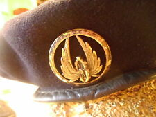 "VINTAGE MILITARY BERET ""FRENCH ARMY "" BLACK  WOOL HAT  BRASS HAT PIN"