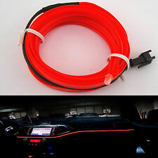 RED 6.5ft Panel Gap Neon Light Strip Cold EL OLED Car Atmosphere Interior Trim