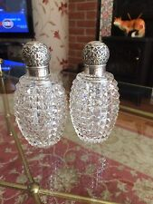 PAIR OF C1892  VICTORIAN PINEAPPLE CUT REPOUSSE SILVER TOP SCENT BOTTLES