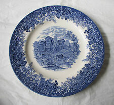 """Wedgwood Queen's Ware MORETON OLD HALL 10.75"""" Dinner Plate Blue Romantic England"""