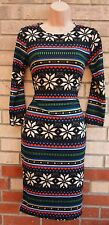 INDULGENCE MULTI COLORED BLACK TRIBAL TUBE BODYCON PENCIL RARE TEA DRESS 12 M