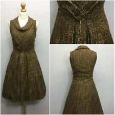 TU Ladies Brown Gold Boucle Texture Boat Neck 60s Retro Skater Dress UK Size 13
