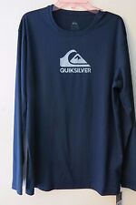 Quiksilver Navy S Long Sleeve Rash Guard Swim UV Shirt Loose Fit Solid Streak