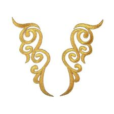 Pair Gold Iron On Embroidered Appliques #36 Tutu Dance Costume Trim Decoration