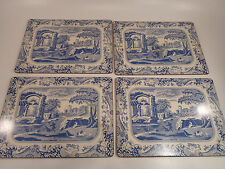 Set Lot of 4 Vintage Chinese or Italian Pattern Placemats w/ Cork Back