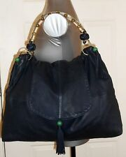 SHANGHAI TANG Blue LEATHER Shoulder Handbag Stone Feng Shui Lucky Coins Purse