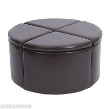 HOMCOM Storage Ottoman Footstool 4 Sections Seat Home Organization Brown
