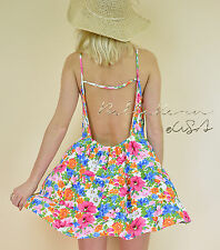 NEW Floral RUFFLE TIERED Flowy Loose Bohemian GYPSY Sun Summer Backless Dress S