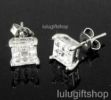 6MM SQUARE CUT CUBIC ZIRCONIA CZ HIP HOP MENS STUDS EARRINGS WHITE GOLD PLATED