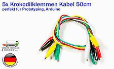 5x Krokodilklemmen-Kabel 50cm Alligator Clips für Arduino Raspberry Pi basteln