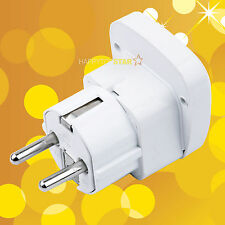 Universal UK/US/EU/AU Socket to Germany France 5mm Plug Adapter W Safety Shutter