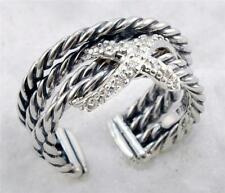 DAVID YURMAN OPEN SHANK CROSSOVER X PAVE DIAMOND RING