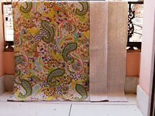Handmade Kantha Bed Spread  Indian Cotton Quilt King Size Paisley Blanket Beige