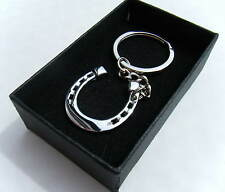 Lucky Metal Horseshoe Keyring Chrome Finish Key Chain Gift Boxed BRAND NEW