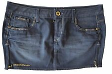 GUESS PREMIUM BLUE STRETCHY DENIM MINI SKIRT WITH FRONT ZIPS - W30 / UK 10 - NEW