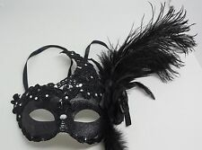 Black Feather Masquerade Mask Party Mask with Flower Lace Decor {FR7 993-D