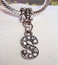 Letter S Rhinestone Alphabet Initial Dangle Bead for European Charm Bracelets