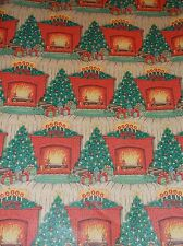 VTG CHRISTMAS FIRE PLACE DEPARTMENT STORE WRAPPING PAPER  2 YARDS GIFT WRAP