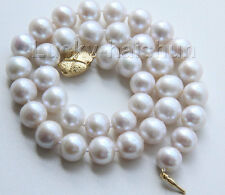 "natural 17"" 12mm white near round freshwater pearls necklace j9520"