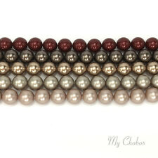 25 pcs Swarovski 5810 8mm Crystal Round Pearls Beads BRONZE & BROWN Colors Mix
