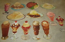 Lot of 13 Old Vintage 1950's - SODA FOUNTAIN / DINER Paper DIECUTS - JUMBO SIZE
