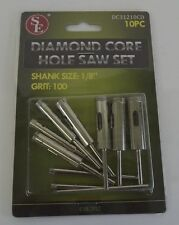 "New 10Pc Diamond Core Hole Saw Set Grit 100 1/8"" Shank"