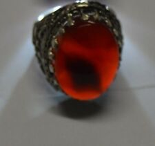 Yemeni natural authentic Kabdi agate aqeeq aqiq stone silver ring men عقيق