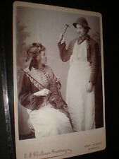 Old cabinet photograph actresses woman hammer moustache Epping c1900s