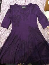 New Look Apricot Size M Purple Skater Dress 3/4 Sleeves With Paisley/Floral Patt