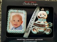 NIB REGENT SQUARE 2016 BABY BOY BEAR FIRST CHRISTMAS ORNAMENT & PICTURE FRAME