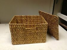 Seagrass Wicker Storage Mail Tray Paper Office Basket Organizer lego lid 12x10x8