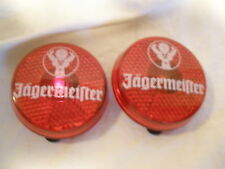 JAGERMEISTER LIQUEUR/CORDIAL PUSH ON & OFF CLIP-ON BUTTON LIGHT-UPS - WORKS! (2)