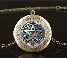 Vintage Metal Pentagram Photo Cabochon Glass Brass Locket Pendant Necklace