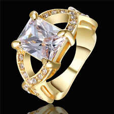 white zircon 18k yellow gold filled fashion jewelry wedding rings size 6