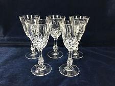Set of 5 Crystal stemmed cut glass sherry port glasses