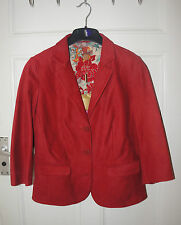 RED currant  MONSOON  NINA JACKET/ blazer  SIZE 12  LEATHER NEW WITH TAG 250