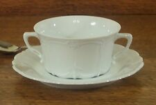 Hutschenreuther Baronesse White Cream Soup Cup & Saucer, new Rosenthal