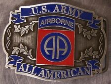 Military Belt Buckle Pewter 82nd Airborne emblem NEW - MADE IN THE U.S.A.