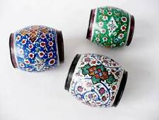 Three Antique Enamel On Copper Persian Napkin Ring Holders