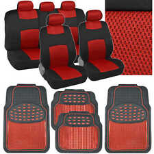 13pc Red Car Seat Cover Combo w/ Rubber Metallic Floor Mats - Sport Cloth Mesh