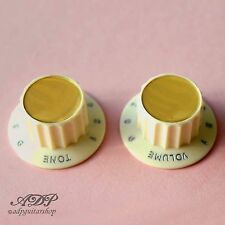 2 BOUTONS OLD WHITE inchSize HARMONY ROCKET PARCHMENT KNOBS GOLD REFLECTOR Cap