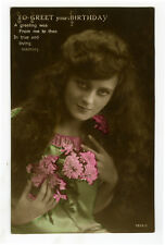 c 1910 British Glamour LONG HAIRED BEAUTY tinted photo postcard