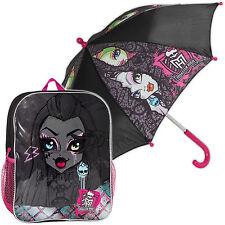 Combo De Monster High Mochila Escolar Morral Bolso Paraguas Niñas Niños Gimnasio PE Kit